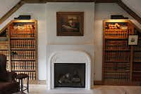 Old law books line a wall in the office of Bill Bowers' home.
