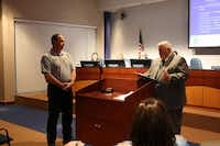 Mayor Patrick Davis said a few words at Tuesday's Highland Village City Council meeting while announcing the fire department had received a Heart Safe Community award.Staff photo by DANIEL HOUSTON  - neighborsgo