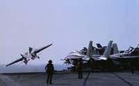 The Pentagon said Friday that two F/A-18 jets dropped bombs on militants pulling artillery near U.S. personnel in Iraq. The action came a day after President Barack Obama authorized military airstrikes to help Iraqi security forces protect civilians.File - The Associated Press
