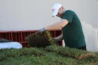 Adam Kanneman, founder of Footwasher Ministries and organizer of the Pete Burks Day of Service, picks up a piece of sod to deliver to one of the project sites on Oct. 19.Staff photo by HEATHER NOEL