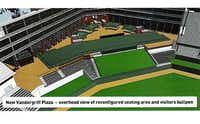 An illustration shows the reconfigured center field seating area and relocated visitors' bullpen.