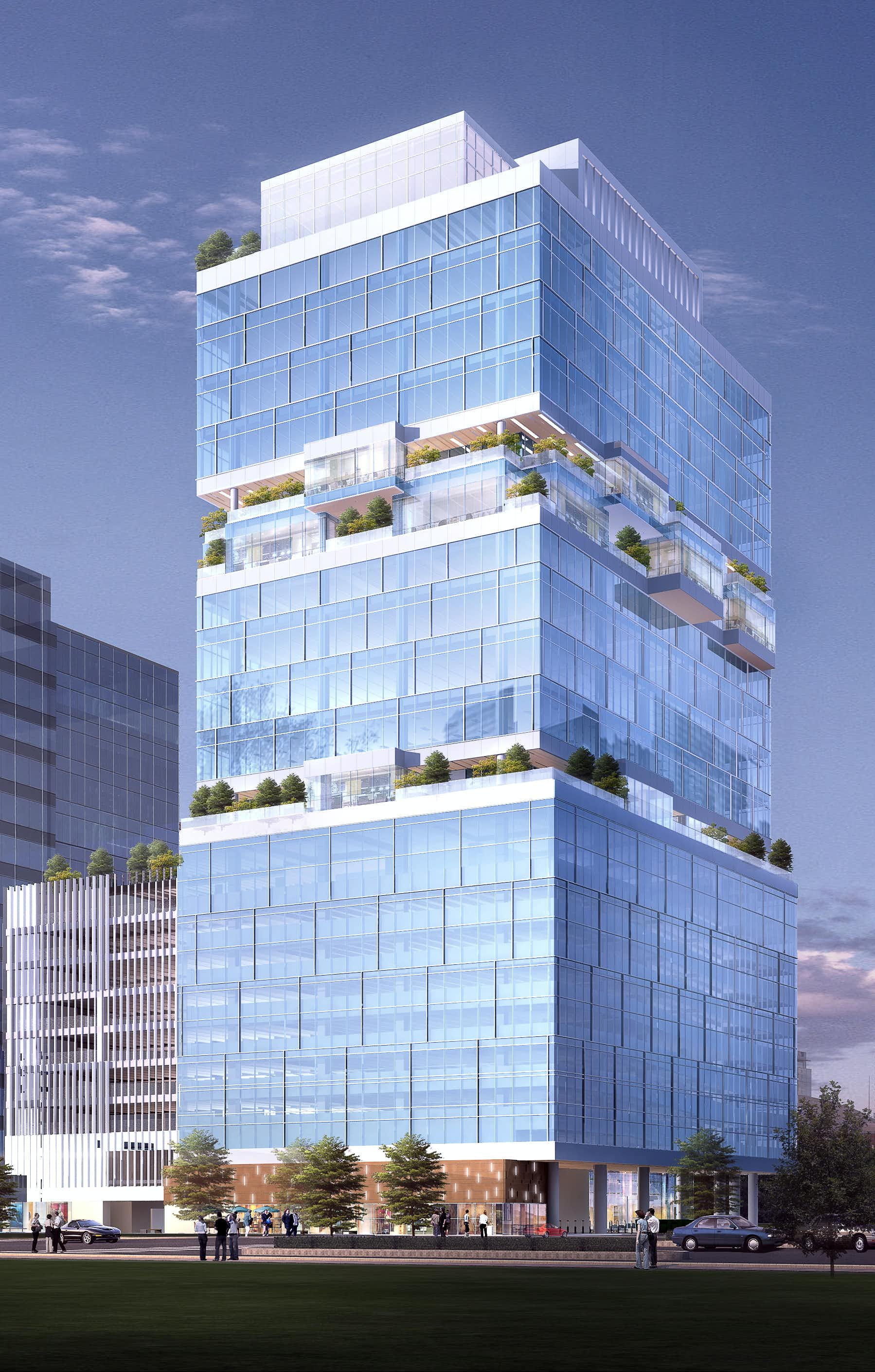 The 22-story Harwood No. 10 building will open in 2018 on McKinnon Street north of downtown. (Harwood International)