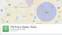 Facebook Safety Check page for an old fireFacebook