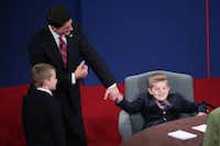 Paul Ryan shared the stage with his sons after Thursday night's vice presidential debate.