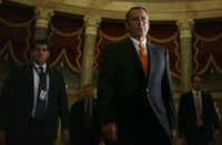 WASHINGTON, DC - OCTOBER 16:  U.S. Speaker of the House Rep. John Boehner (R-OH) walks to the House Chamber for a vote October 16, 2013 on Capitol Hill in Washington, DC. On the 16th day of a government shutdown, the House has passed a bill to reopen the government until January 15 and raise the nation's debt ceiling until February 7, 2014.  (Photo by Alex Wong/Getty Images)Alex Wong - Getty Images