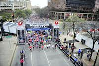 Runners line up down Young St. as they begin the Dallas Rock N' Roll half-marathon on Sunday, March 23, 2014. (Matthew Busch/The Dallas Morning News)Matthew Busch - Staff Photographer