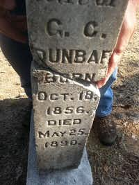 One of the three existing headstones in the Old Community Center in Balch Springs. Searchers found more unmarked graves on Aug. 19.By STAN WOOD - Courtesy of Stan Wood