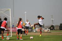 Diggs practices during training sessions in Houston. The Dash will play its last preseason game against the Houston Aces on Saturday after a home game against FC Dallas. The Dash will open its inaugural season at 7 p.m. April 12 against defending the NWSL champion Portland Thorns. To see a schedule, visit houstondynamo.com/houstondash/schedule.Anthony Vasser - Submitted photo