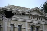 NAPA, CA - AUGUST 24:  A section of the Napa County Court house is seen damaged following a reported 6.0 earthquake on August 24, 2014 in Napa, California.  A 6.0 earthquake rocked the San Francisco Bay Area shortly after 3:00 am on Sunday morning causing damage to buildings and sending at least 70 people to a hospital with non-life threatening injuries.Justin Sullivan - Getty Images