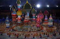 Dancers and actors perform during the opening ceremony in Sochi.ADRIAN DENNIS - AFP/Getty Images