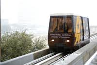 The Las Colinas Area Personal Transit System  tram arrives at Tower 909 Station in Las Colinas.Photos by  Rose Baca