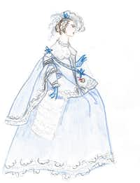 """One of Austin Scarlett's sketches for the Fort Worth Opera production of """"With Blood, With Ink,"""" set to debut in April 2014.Rasy Ran/Fort Worth Opera"""