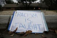 This sign now sits in front of the Rice house in Northwest Dallas.
