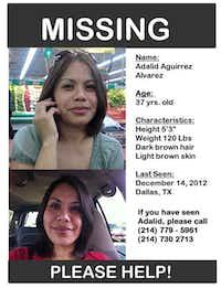Josandy Alvarez, 17, prepared this poster seeking the public's help in finding her missing mother, Adalid Alvarez.