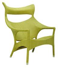 Amari High Back Lounge Chair, electrostatic powder-coated metal covered in JANUSfiber, $1,762, Janus et Cie, 214-712-0003, janusetcie.com
