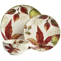Blowing leaves Guests and family will enjoy the bounty of the season on Ashville ironstone dinnerware accented with autumn foliage of deep red, amber and brown. 11-inch dinner plate $8 each ; 8.75-inch salad plate $7 each; 6-inch diameter bowl $6 each at Pier 1 (multiple locations) and pier1.com