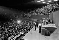 The Beatles perform at the Memorial Coliseum in Dallas, on Sept. 18, 1964, on their second U.S. tour.