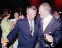 Former Dallas Cowboys coach Jimmy Johnson and his unmoveable hair partied with team owner Jerry Jones in Santa Monica, Calif., after winning Super Bowl XXVII against the Buffalo Bills.