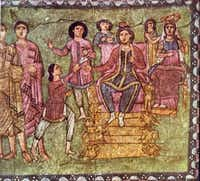 """From """"The Story of the Jews"""" by Simon Schama: King Ahasuerus and Queen Esther, from a from a third-century AD uncovered in Syria 1932. Here is the cutline from the book: """"Third-century wall paintings from Dura-Europos Synagogue demolished the assumption that Judasim abhorred images. In the earliest synagogues, quite the opposite was the case. """" Here is the cutline the publisher sent: The Bridgeman Art Library Mordechai and Esther (tempera on plaster), Jewish School, (2nd century) / Dura-Europos Synagogue, National Museum of Damascus, SyriaZev Radovan  -  The Bridgeman Art Library"""