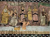 A wall painting from a third-century Jewish synagogue tells the story of Pharaoh's daughter finding Moses. It was uncovered in Syria in 1932.Zev Radovan - The Bridgeman Art Library