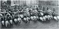 This image provided by the Pabst Mansion museum shows beer wagons and horse teams lined up to carry one day's delivery of beer for Milwaukee establishments in 1900. A small group of Milwaukee residents wants to revive the city's beer brewing tradition by buying Pabst Brewing Co. from a California executive in hopes of returning the brand's headquarters to its birthplace.  (AP Photo/Pabst Mansion)Carrie Antlfinger - AP