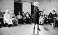 """Stella Adler addressing actors at the Stella Adler Studio of Acting in Chelsea in New York in 1984. When he has heard Stanley Kowalski bellow """"Stella!"""" with caveman ferocity, Tom Oppenheim has wondered whether Tennessee Williams chose the name as an insider's bouquet to Stella Adler, Oppenheim's grandmother and the renowned acting teacher who led Marlon Brando to the Method. Oppenheim is understandably saturated in his family's legacy. He is the fourth generation of Adlers in the theater, a dynastic stretch that gives them bragging rights alongside the Barrymores."""