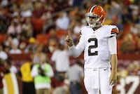 Cleveland Browns quarterback Johnny Manziel (2) held a finger up during the first half of an NFL preseason football game against the Washington Redskins on Monday in Landover, Md.Evan Vucci -  The Associated Press