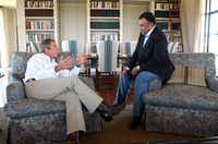 Then-President Bush met with Saudi Arabian ambassador Prince Bandar bin Sultan at the president's ranch in Crawford, Texas in this Aug. 27, 2002 file photo. Laura Bush's go-to decorator Ken Blasingame of Fort Worth decorated the ranch and both of the Bush's Dallas houses.