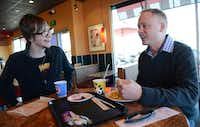 The duo enjoys a late lunch together Feb. 13 at Panda Express in South Dallas.Photo by ROSE BACA