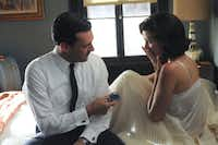 "Jon Hamm and Jessica Pare in AMC's ""Mad Men."""
