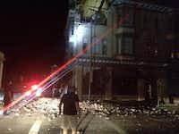 This photo provided by Lyall Davenport shows damage to a building in Napa, Calif. early Sunday, Aug. 24, 2014. Officials say an earthquake with a preliminary magnitude of 6.0 has been reported in California's northern San Francisco Bay area.Lyall Davenport - AP
