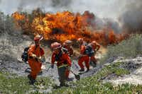 Inmates from Oak Glen Fire Camp in Riverside retreat to higher ground as the flames start to move close while they work to control the fire near Oriole Court in Carlsbad, Calif., Wednesday, May 14, 2014. Thousands were asked to evacuate their homes in Carlsbad after the blaze erupted at about 10:34 a.m. Wednesday and spread through rapidly heavy brush before jumping into residential areas. (AP Photo/U-T San Diego, Hayne Palmour IV)Hayne Palmour IV - AP