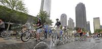 Bicyclists left Klyde Warren Park en route to the Katy Trail on Monday during the Uptown Ciclovía, an event promoting biking and walking. Parts of Cedar Springs Road and Harwood Street were closed to cars, and the route was lined with booths and filled with activities.Brandon Wade  - Special Contributor