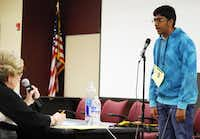 """Lokesh Nagineni, an eighth-grader at Lamar Middle School in Flower Mound, won the Denton County Spelling Bee in February by correctly spelling the word """"representative."""" It marked the fourth straight year he has won the bee and advanced to The Dallas Morning News Regional Spelling Bee.Photo by MARIO ZAVALA - Courtesy"""