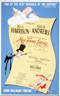 In his 1956 windowcard for 'My Fair Lady,' artist Al Hirschfeld shows playwright George Bernard Shaw as master puppeteer manipulating a secondary puppeteer, Professor Higgins with his pupil Eliza. The card is included in a current exhibition of theater-related graphic art at the New York Public Library for the Performing Arts.