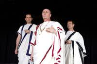 From left: Richard Haratine is Brutus, David Coffee is Caesar, Steven Pounders is Cassius in Trinity Shakespeare Festival's production of  Julius Caesar June 12 through June 30, 2013.
