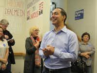 Housing Secretary and former San Antonio Mayor Julián Castro visits a Hillary Clinton campaign office in Ottumwa, Iowa, on Jan. 24, 2016. (staff/Todd J. Gillman)