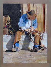"""""""Mending His Tack"""" by Chuck GilliamColored Pencil Society of America"""