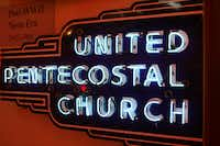 A church sign from the early days of neon. AMERICANSIGN