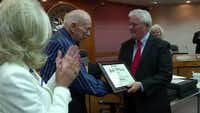 """World War II veteran Jack """"Cotton"""" Futrell returned to Mesquite on June 8 to collect on the high school diploma that he missed out on seven decades earlier.Courtesy NBC 5 DALLAS"""