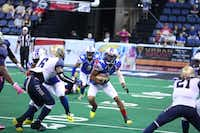 Texas Revolution receiver and kick returner Will Cole finds some running room during a game against the Tri-Cities Fever. Cole has scored four touchdowns since joining the Revolution — two return touchdowns and two receiving touchdowns. Cole has 12 receptions for 133 yards this season.Photo submitted by FRED MAHUSAY/ FREDSHOTS PHOTOGRAPHY