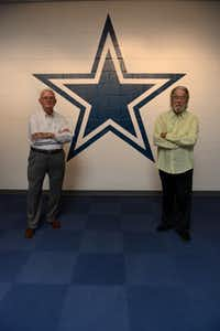 Former Irving mayors Dan Matkin, 80, (left) and Robert Power, 79, helped build the Cowboys' legacy in Irving and Valley Ranch. Though an official announcement has not been released, sources close to the team say the Cowboys are looking to relocate their headquarters and practice facility to Frisco in 2016.