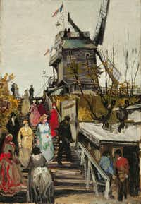 "An undated handout photo of Vincent van Gogh's ""The Blute-fin Mill."" While van Gogh's reputation virtually guarantees that people will flock to a show where his art is the centerpiece, some curators say that it is ""the hardest kind of exhibition to put together."""
