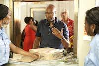 "Director Salim Akil rehearses with Tasha Smith and Loretta Devine in ""Jumping the Broom."""