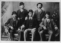 This image provided by the Nevada Historical Society shows the famous group portrait taken in Fort Worth shortly after Butch Cassidy and his gang robbed the Einnemucca, Nev., bank in 1900.