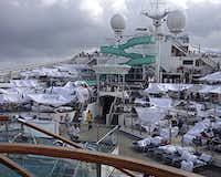 Passengers erected makeshift tents on the Triumph's deck while it was adrift in the Gulf of Mexico.Kalin Hill - AP
