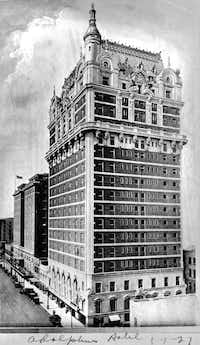 The Adolphus opened in 1912, but by 1927, it had already been enlarged. Its last renovation, in the early 1980s, reduced 1,300 rooms to about 450.
