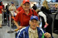 Aaron Dobzewitz, 91, of Dallas, flew on Honor Flight DFW.