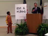 Mayor Mike Rawlings introduced David Williams, 12, at a news conference last week at UT Southwestern Medical Center.