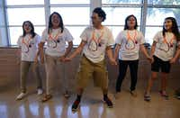 Students practice the skit for their team's anti-smoking campaign.Rose Baca - neighborsgo staff photographer
